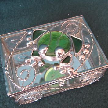 Frog Jewelry Box from fused glass