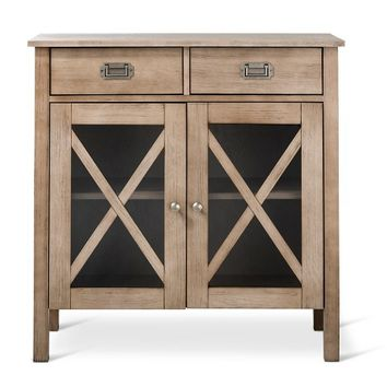 "Threshold™ Rustic ""X"" Two Door Cabinet - Weathered Wood"