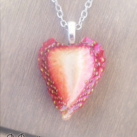 Strawberry Necklace - Real Fruit Pendant - Natural Strawberry Fruit Jewelry - Cute Kawaii Romantic