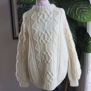 Ready to ship /Gorgeous Hand Knitted-HANDMADE Cream aran fisherman sweater for women or men/unisex