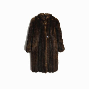 Vintage Espresso Brown Fur Coat / Mid-Length Mink Fur Coat / Winter Wedding Coat by Le Parisien Furs - women's small/medium