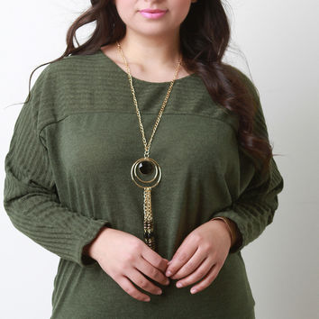 Ribbed Yoke Knit Top With Necklace