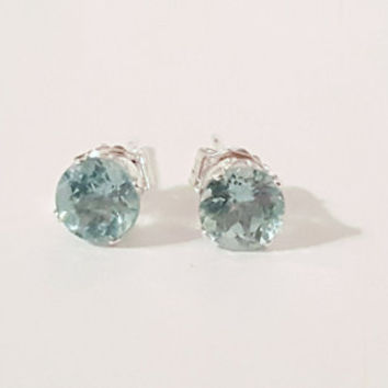 5mm Apatite Gemstone Earrings Faceted Light Blue .925 sterling silver jewelry handmade wedding gifts for her