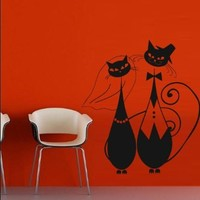 Wall Vinyl Sticker Decals Decor Art Bedroom Design Mural Cat Wedding Bride Groom Just Married Love Relations (M784)