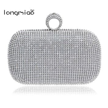 longmiao Finger Clutch Diamond Studded Evening Bag Sparkle Spangle Clutch Purse Women's Rhinestone Banquet Bag Day Clutch Female