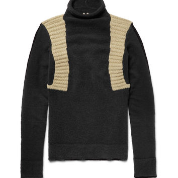 Rick Owens - Panelled Wool-Blend Mock Neck Sweater