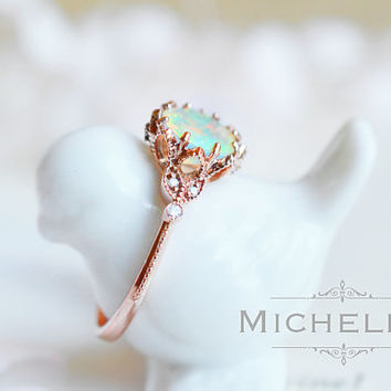 rose opal engagement etsy bridal gold set the promise anniversary ring rings get shop three wedding deal belesas stone