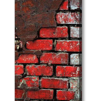 Fine Art Photography - Canvas Gallery Wrap, Red, Black, Brick, Wall, Gray, City, Abstract, Downtown, Industrial, Grunge, Man, Masculine