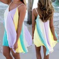 Women's Fashion Spaghetti Strap Chiffon Sexy V-neck Sleeveless One Piece Dress [10836731599]