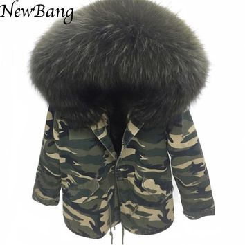 2016  Camo Parka Camouflage Coat With Large Raccoon Fur Collar Hood Womens Parkas Outwear 2 in 1 Detachable Lining Winter Jacket