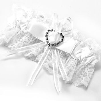 Garter white lace wedding accessory lucky bride Bow rhinestone heart elastic tape #67