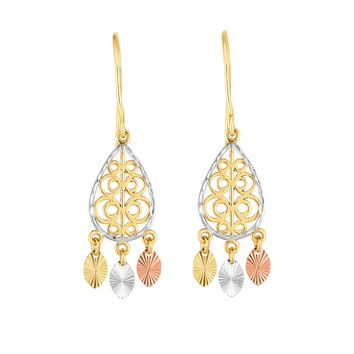 14K Tri-color Gold Chandelier With Diamond Cut Discs Earrings 2cf12d389c