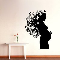 Wall Decals Vinyl Decal Sticker Bedroom Interior Design Home Decor Pregnant Woman Floral Hair Kids Nursery Room Kj604