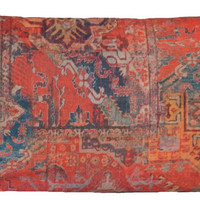 Ethnic Rug Red Throw Pillow Cover Design Kilim Morrocco Oriental Style Printed Cotton Cushion Cover Fabric Rusty Orange