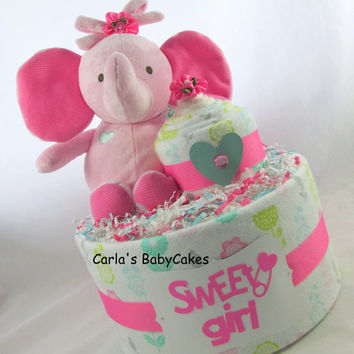 Elephant diaper cake | Girl diaper cake | Baby shower decoration | Baby diaper cake | Baby shower gift | Unique baby gift | New mom gift