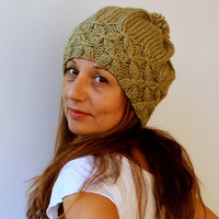 FREE SHIPPING Sage Green Women's Knit Hat Slouchy Beret - Pompom Hat - Bamboo Green Beret / Chunky / Pom pom /Baggy / Beanie