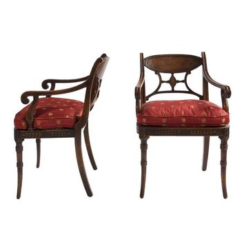 Pre-owned Red & Gold Bee Fabric French Carved Arm Chairs