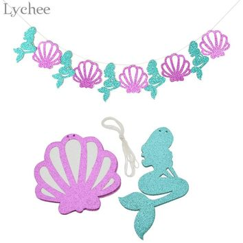 Lychee Glitter Seashell Mermaid Party Decoration Summer Sea Party Banner Garland Birthday Party Baby Shower Decor