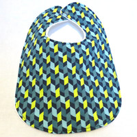 Baby Bib - Modern Baby Bib- Blue, Yellow, and Green Geometric Print - Hipster Baby Bib - White Bubble Dot Minky Backing - Handmade Baby Gift