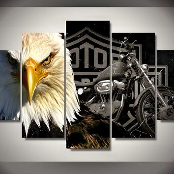 HD Printed Eagles motorcycle Painting Canvas Print room decor print poster picture canvas Free shipping/ny-2910