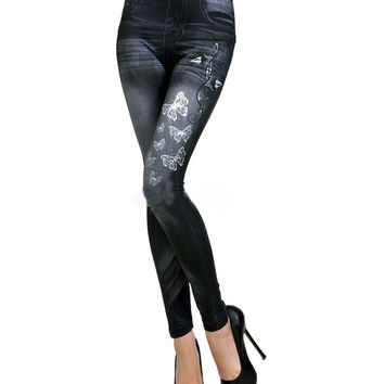 Butterfly Printed Skinny Jeans