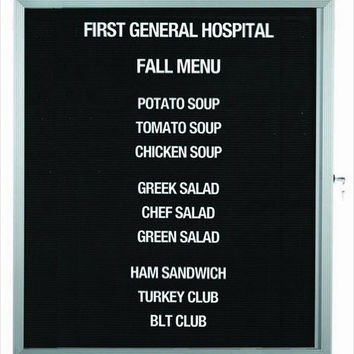"""Enclosed Indoor 30""""x36"""" One Door Satin Anodized Finish Aluminum Directory Changeable Letter Board"""