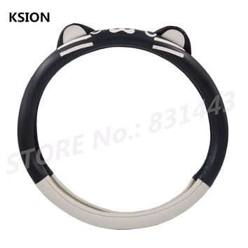 Leather Car Steering Wheel Cover Black with White Cartoon Cat