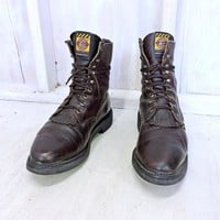 Justin roper boots 13 EE   mens / Vintage Justin cowboy work boots /  Lacers / made in USA /  brown leather western boots / Rugged and Tough