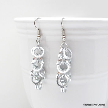 Square wire shaggy loops chainmaille earrings