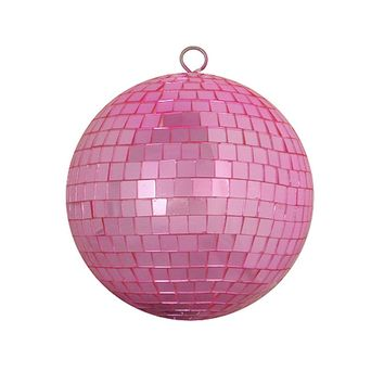 "Bubblegum Pink Mirrored Glass Disco Ball Christmas Ornament 8"" (200mm)"