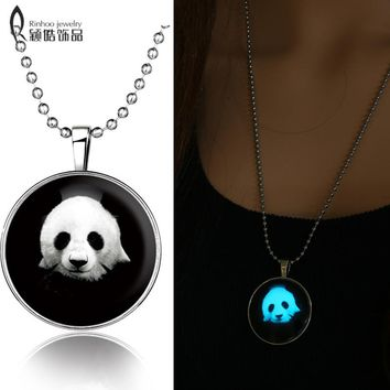 Fashion new glow in the dark jewelry Glowing Giant Panda Pendant Stainless Steel Chain necklace glass cabochon dome necklace