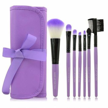 7 makeup brushes set with stirage pouch
