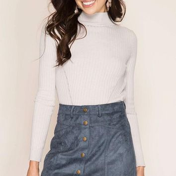 Button Down Suede Mini Skirt
