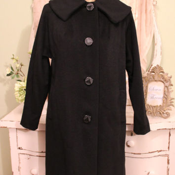 Vintage 50s Swing Coat, Jackie O Retro, Size Small Medium, Black Wool Mohair, Vintage Winter Coats, 1950s 60s Outerwear, EXCELLENT CONDITION