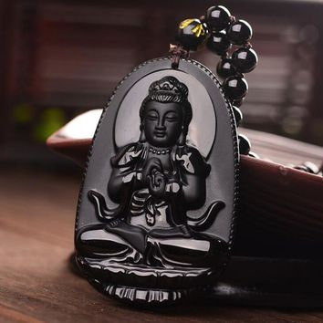 Obsidian Buddha Pendant Necklace