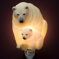 Polar Bear Mother and Cub Nightlight by Ibis & Orchid Design
