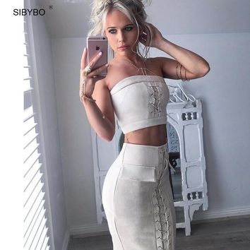 SIBYBO Suede Lace Up 2 Piece Set Women Dress Elegant Long two pieces  Autumn Sexy Club Party Bandage Bodycon Dress Vestidos