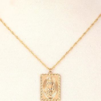 Gold Virgin Mary Necklace