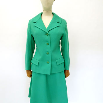 VINTAGE 1960s 1970s WOOL SKIRT SUIT 8 10