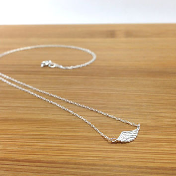 Sterling Silver Angel Wing Necklace - Wing necklace, Sideways Wing, Angel Wing, Gift for sister, girlfriend, best friends