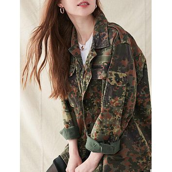 Vintage Camo Jacket Europe Military Jacket Authentic Reclaimed Coat