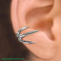 925, Claw - Sterling Silver ear cuff earring, non pierced Talon earcuff jewelry for men and women, Right  091612