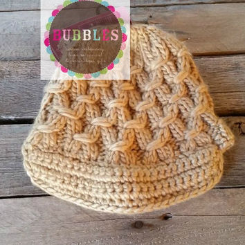 Caramel Cable Knit Beanie Hat Crochet