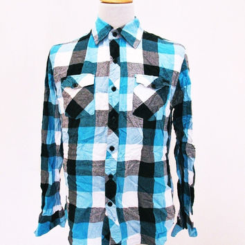 Retro MACHINE BRAND Designer On Trend Plaid Lumberjack Shirt Small