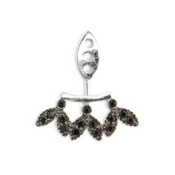 YVONNE LEON | 18k Gold and Black Diamond Leaf Lobe Earring | Browns fashion & designer clothes & clothing