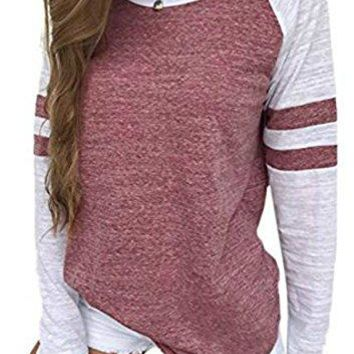 GEMBERA Womens Long Raglan Sleeve Colorblock Striped Tops Baseball Tee Shirt
