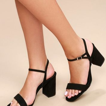 Arya Black Suede High Heel Sandals