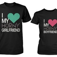 His and Her Couples Matching T-Shirts - I Love My Horny Boyfriend and Girlfriend
