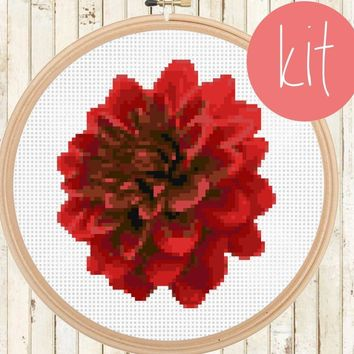 Red Flower Cross Stitch Kit
