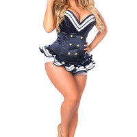 Daisy Corsets - Top Drawer Navy Blue Sailor Overbust Steel Boned Corset
